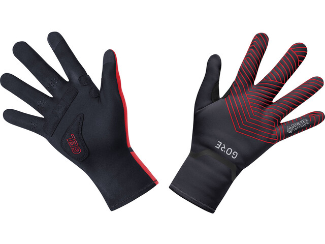 GORE WEAR C3 Gants mi-longs Gore-Tex Infinium extensibles, black/red